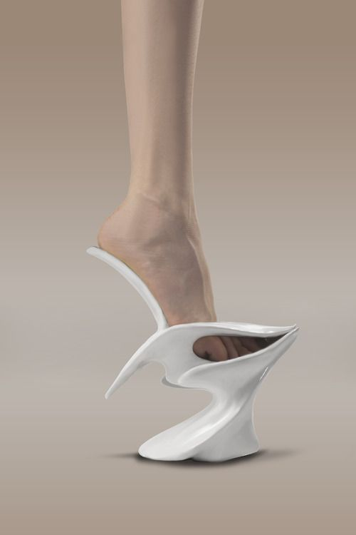 "I can totally see Nona Hyndrix, Grace Jones or even Rihanna wearing these bad boys here. Safa Şahin ""White Swan"""