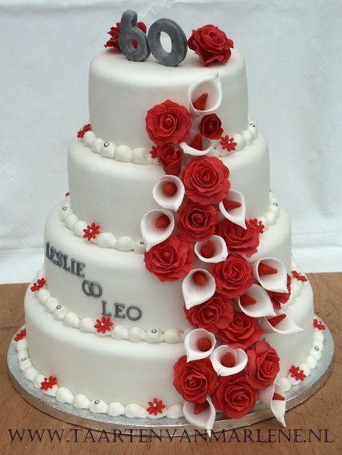 Verwonderend 60 jaar getrouwd: Rond 30, 25, 20 en 15 cm. Vulling luxe aardbeien FG-65