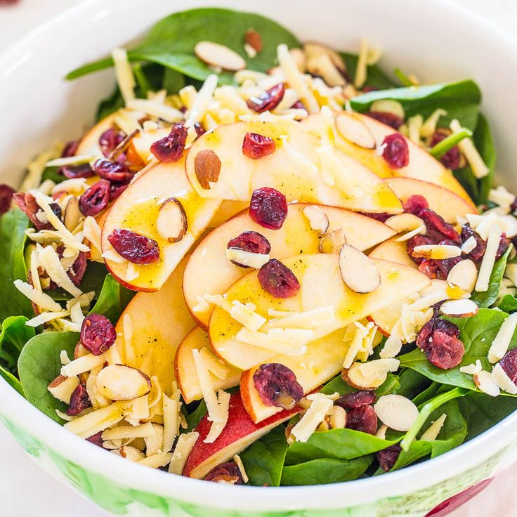 Apples and cheddar just go together.I've always loved the combination. It's Monday and time to think about staring the week off on a healthy note after some Superbowl party indulgences. There are so many wonderful textures and flavors in every bite you can't help but like it.It's filling, satisfying, and healthy. Hearty spinach, crisp juicy …