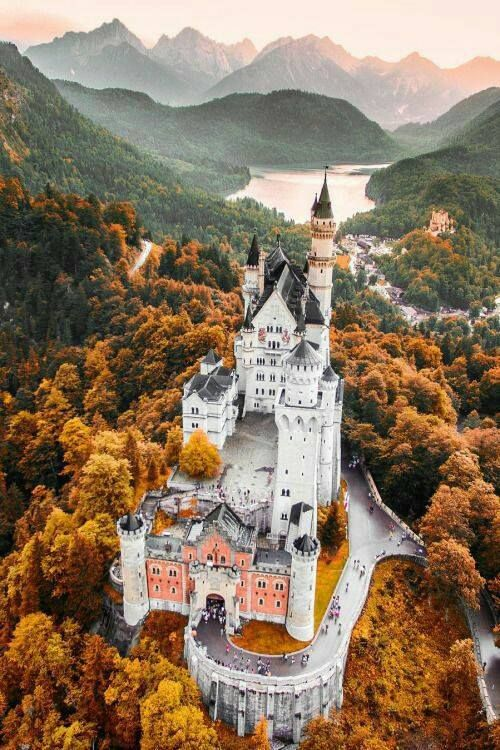 Neuschwanstein Castle- a 19th-century Romanesque Revival palace