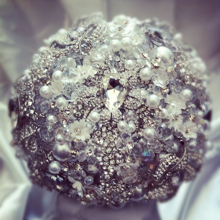 Vintage crystal bouquet made from brooches, crystals, swarovski, diamontes, beads and pearls.