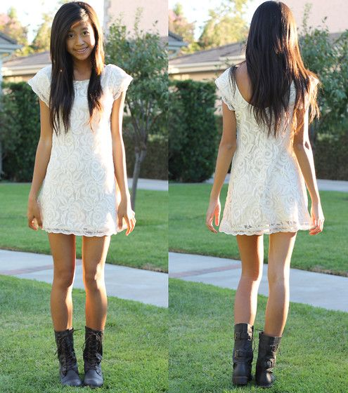 1000  images about white dress on Pinterest  Lace combat boots ...