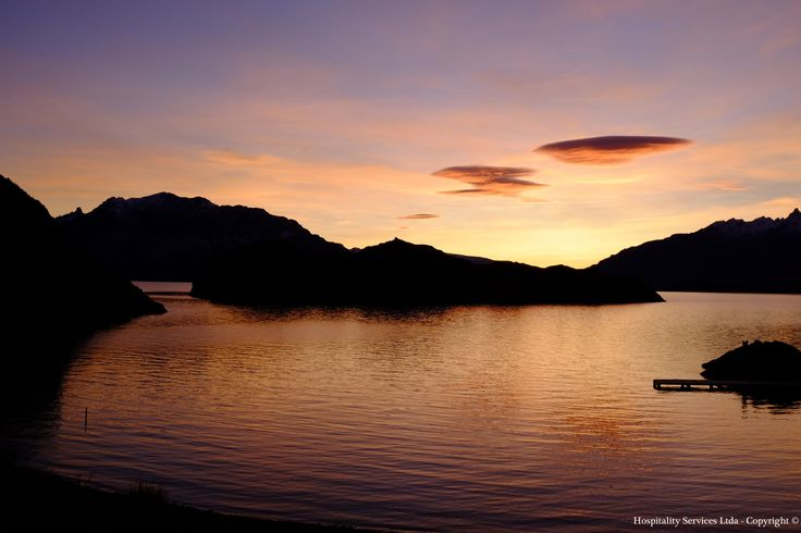 Photo: Hospitality Services Ltda - Copyright © Can you guess if this is sunrise or sunset on the Andes as seen from Isla Macías, General Carrera Lake, Aysén, Chilean Patagonia.