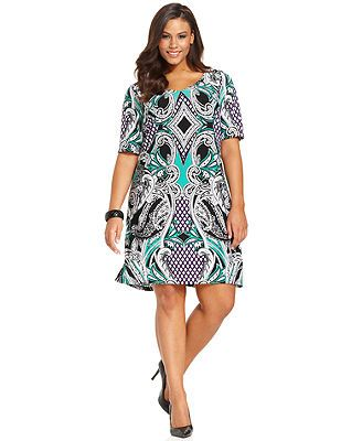 NY Collection Plus Size Short-Sleeve Printed Shift Dress