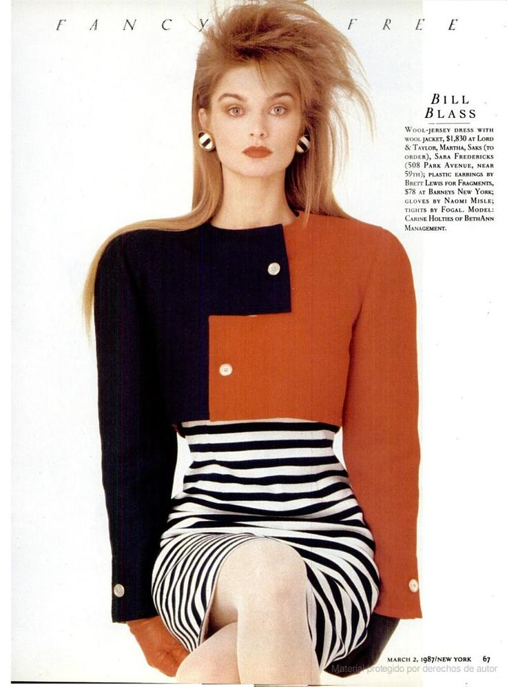 American fashion in 1987 - Boxy and bolero jacket with fitted stripped dress