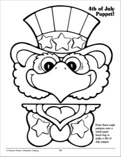Your students can paste these eagle patterns onto a small paper lunch bag to make a Fourth of July puppet.  #July4th #IndependenceDay #EaglePapperBagPuppet #SummerCraft