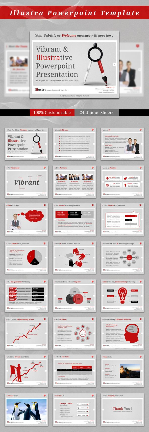 Illustra PowerPoint Template by kh2838 Studio, via Behance