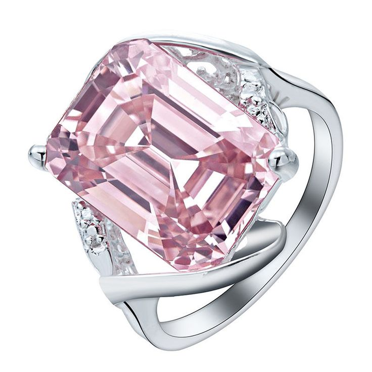 Women Chic 925 Sterling Silver Pink Sapphire Engagement Ring Proposal Jewelry #Handmade #Cocktail