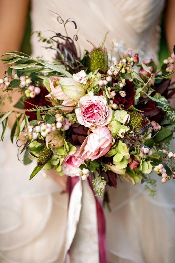 Lots Of Texture In This Lovely Wedding Bouquet Which Features A Pink Burgundy Green Color Palette