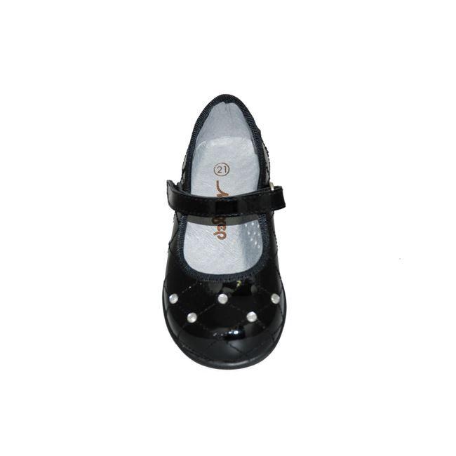 #babygirl #shoes Μπαρέτα Μούγερ από δέρμα-λουστρίνι, μαύρη με στρας, με αυτοκόλλητο κούμπωμα και ανατομικό πέλμα. http://www.mouyer.gr/paidika-papoutsia/baretes/mouger-3-bareta-dermatini-loustrini-mavri_53410/
