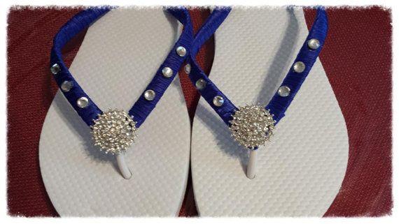 Royal Blue Flip Flops. Royal Blue Bridal shoes by HopesBridal
