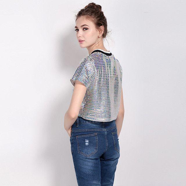 MY MAYAASOS Short Sleeve Hipster Female Tee Cropped K-Pop Women T-Shirts O-Neck Punk Rock Silver Women's Sequin Top Harajuku