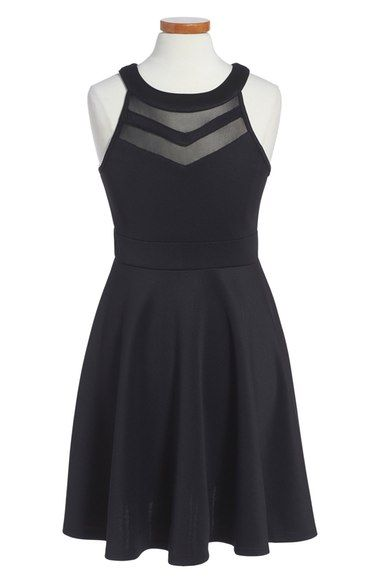 Love Nickie Lew Mesh Inset Skater Dress (Big Girls) available at #Nordstrom