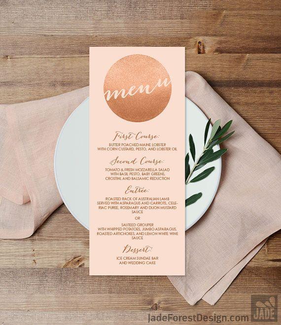 Rose Gold Sparkle Wedding Menu Card DIY / Metallic Rose Gold Glitter Circle on Coral Background Menu Printable PDF on Etsy
