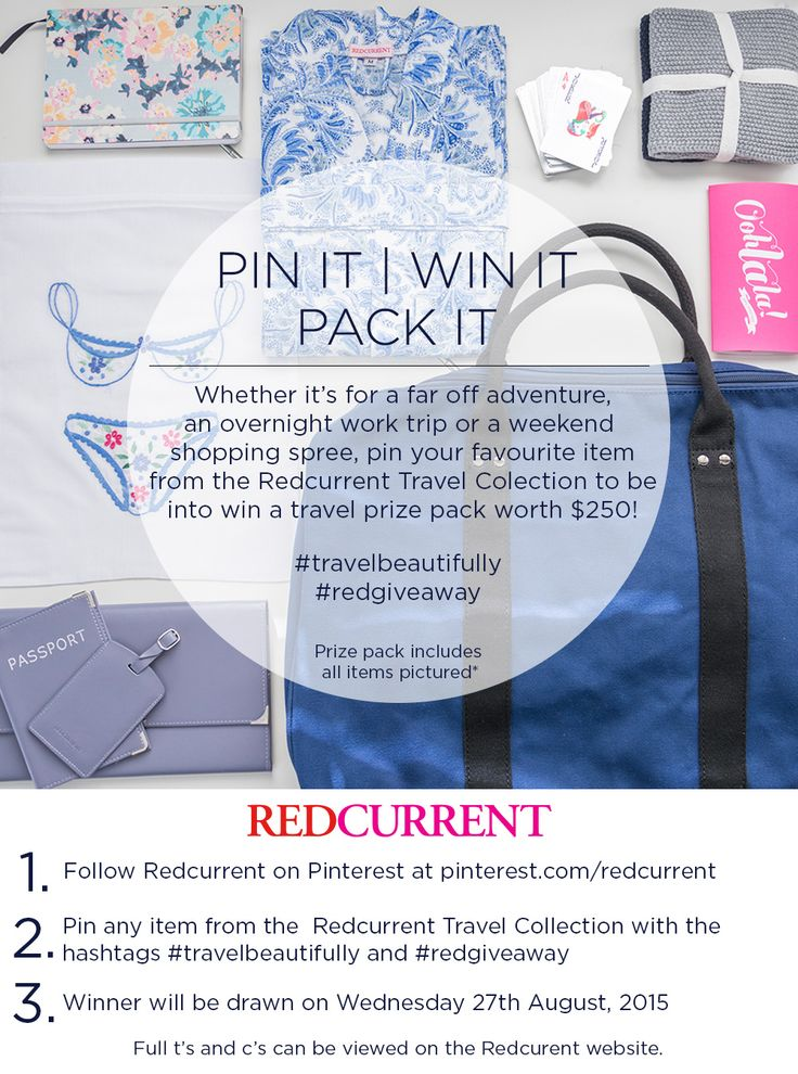 PIN IT | WIN IT | PACK IT view the Redcurrent Travel Collection here > http://www.redcurrent.co.nz/travel.html