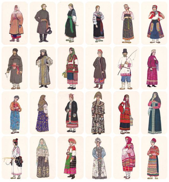 Russian Folk Costume Dress. Drawings by N. by RussianSoulVintage