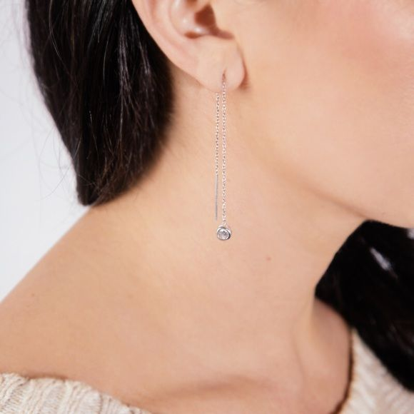 "Debra Shepard Swarovski Crystal Threader Earrings New, Sterling Silver, hypoallergenic, and give you uh-mazing length (5″ overall, 2.5″ dangle) without any extra weight.   ❤️ Sterling Silver  ❤️ Swarovski Crystal ❤️ 5"" Long ❤️ 2.5"" Dangle ❤️ Light weight  ❤️ Feminine and delicate Debra Shepard Jewelry Earrings"