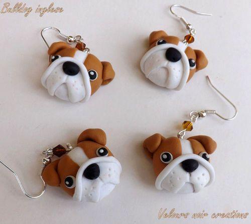 Orecchini cane bulldog inglese english creati a mano fimo earring dog handmade