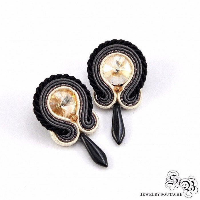 Mini Earrings Soutache, Round Dangle Earrings, Handmade Earrings with crystal, Small earrings soutache, grey/black/beige/gold by SBjewelrySoutache on Etsy
