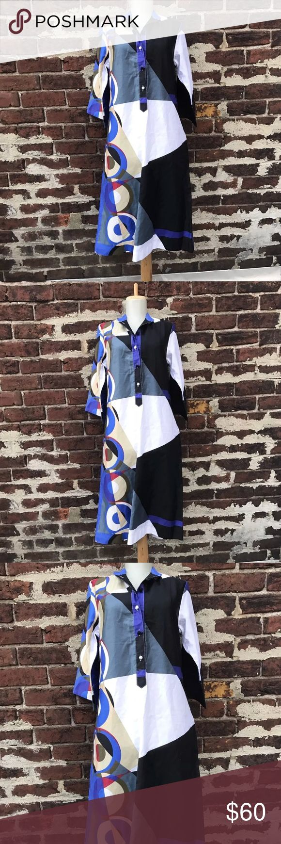 Vtg Catherine Ogust XS Mod Art 70s Shirt Dress You're looking at a beautiful vintage midi Penthouse Gallery dress by Catherine Ogust.   Size XS (I'd say due to the loose / swing fit of this, the sizing is accurate to modern sizing)  Cotton  Great vintage condition! Vintage Dresses