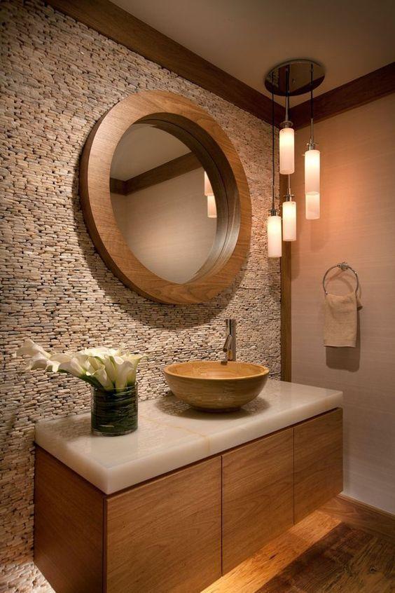 steinwand badezimmer gestalten runder wandspiegel blumen - wohnzimmer design steinwand