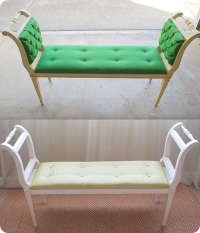 Make a bench seat from two old chairs
