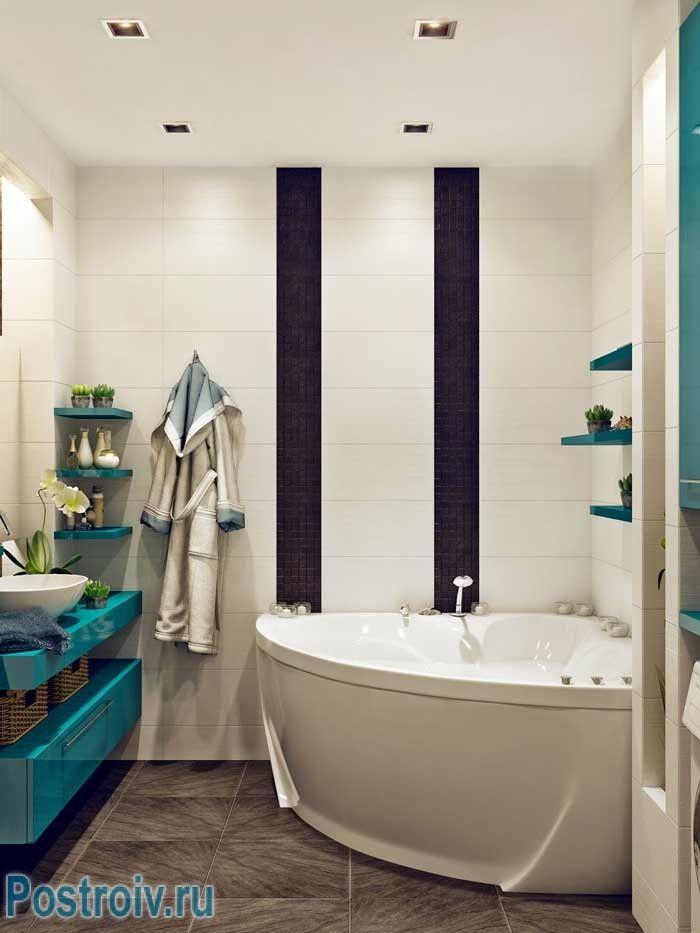 Угловая ванна. Дизайн ванной комнаты с угловой ванной