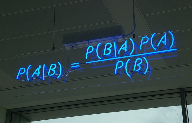 Maths in neon at Autonomy in Cambridge. This is Bayes's Theorem.