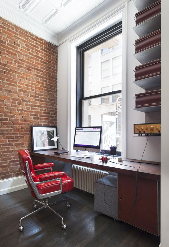 Loft Office, Exposed Brick Walls, Historical Elements Maintained, Dark Wood  Floors, Red
