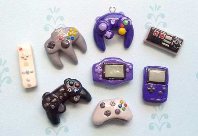 Gaming Polymer Charms DIY - so geeky but so cute! (inspiration only)