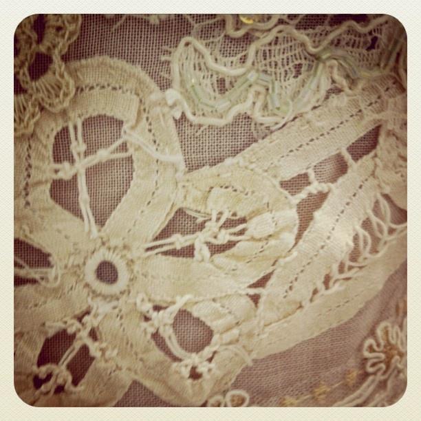 Dimity EcoBride detail:  vintage tape lace