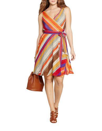 Brands Plus Size Plus Striped Wrap Dress Hudson S