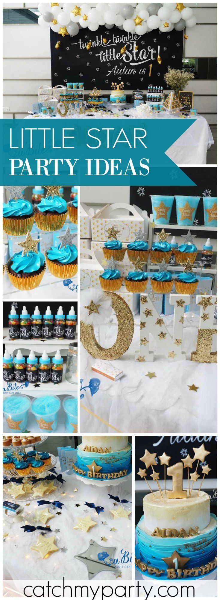 So many gorgeous ideas at this Twinkle Twinkle Little Star party! See more party ideas at Catchmyparty.com!