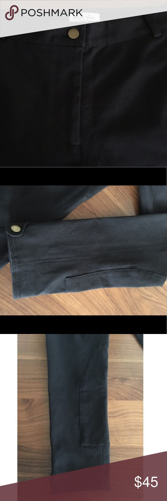 """SALE! Steven Alan Riding Pant, Only In-Store, SZ 6 ON SALE! Fitted Steven Alan riding Jodhpur-like riding pant with brass buttons at cuffs. Only available at the store. Black stretch fabric. Inseam 25"""". Never worn. Like brand new. Come from a clean, non-smoking home. Steven Alan Pants Ankle & Cropped"""