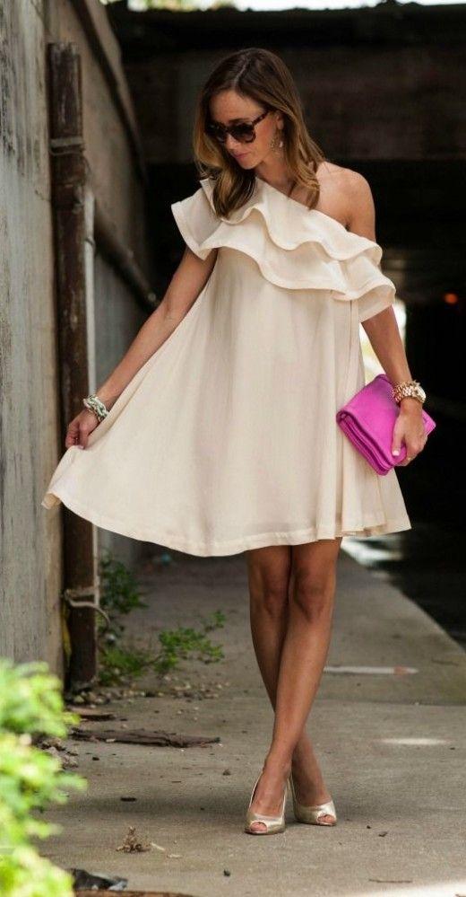 cream ruffle dress