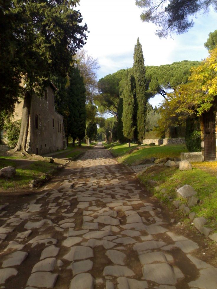Via Appia (Appian Way) near Quarto Miglio, Rome. Used as a main route for military supplies since its construction for that purpose in the mid-4th century BCE, it was built specifically to transport troops outside the smaller region of greater Rome.