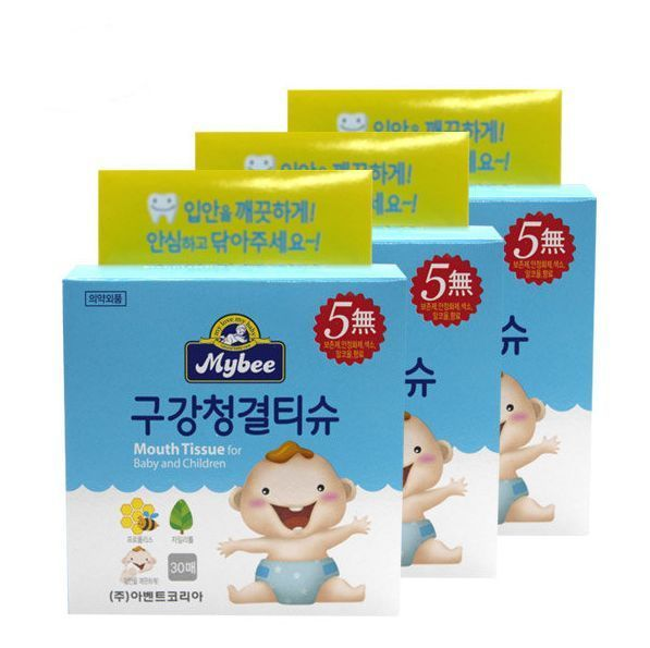 Mybee Mouth Tissue for Baby and Children 30sheet * 3Packs, Clean Dental Care #Mybee
