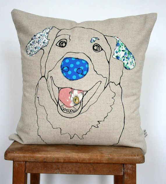 Appliqued Dog Cushion Beulah by NaughtyDOG2 on Etsy