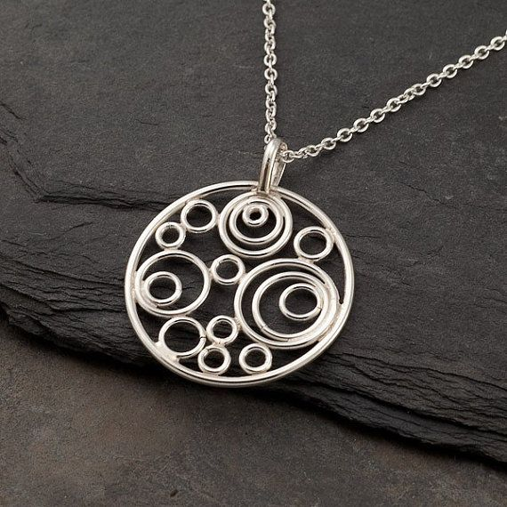 Silver Circle Necklace- Silver Circle Pendant- Handmade Sterling Silver…