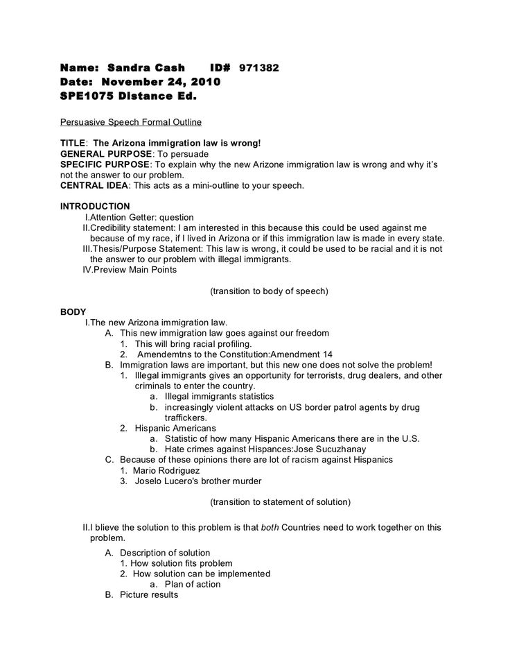 persuasive speech formal outline by random sandi via