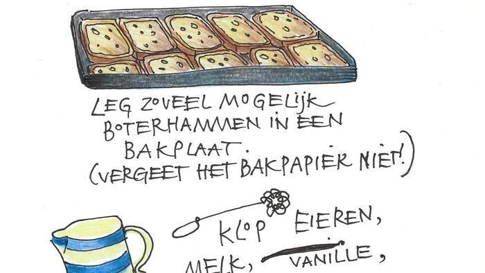 Kookboekenmaker, kok en illustrator Yvette van Boven maakt elke week een gerecht in de oven. Wentelteefjes