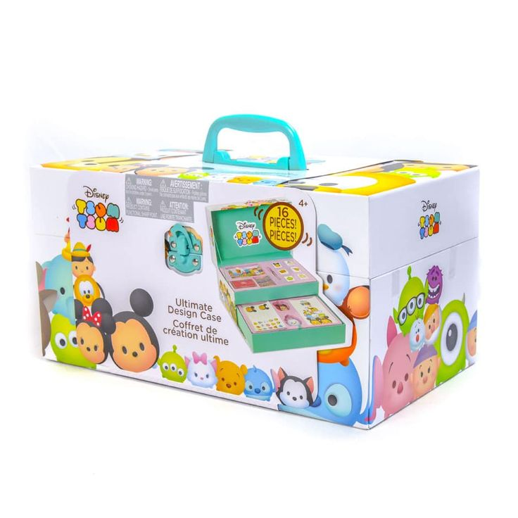 Your favorite stackable Disney Tsum Tsum characters are now featured on unique stationary items. This 2-tiered stationary storage case is the perfect place to keep all of your Tsum Tsum stationery for at home crafts and on-the-go fun! The Tsum Tsum Ultimate Design Kit includes 1 notebook, 1 glitter pen, 6 Stamps, 1 ink pad, 1 gem sheet, 2 keychains, 2 sticker sheets, and 1 plastic case. Recommended for ages 6 years and up.