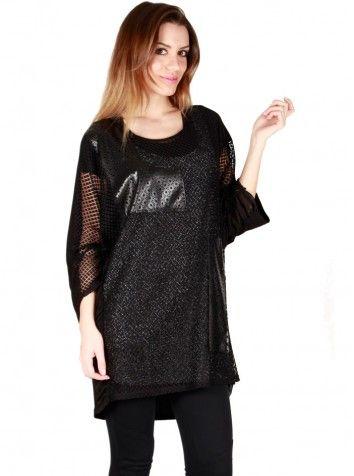 Bayan Özel Tasarım İkili Bluz Siyah