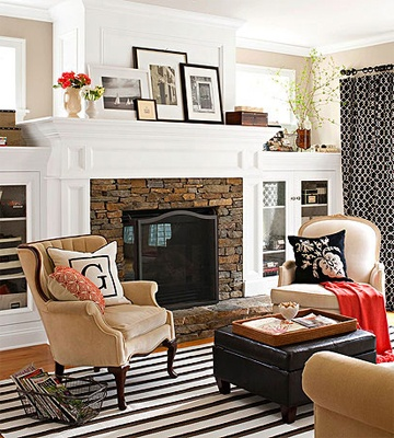 I've always loved fireplaces flanked by book cases with windows over them!  Lots of storage, plus light!  It's a win/win.