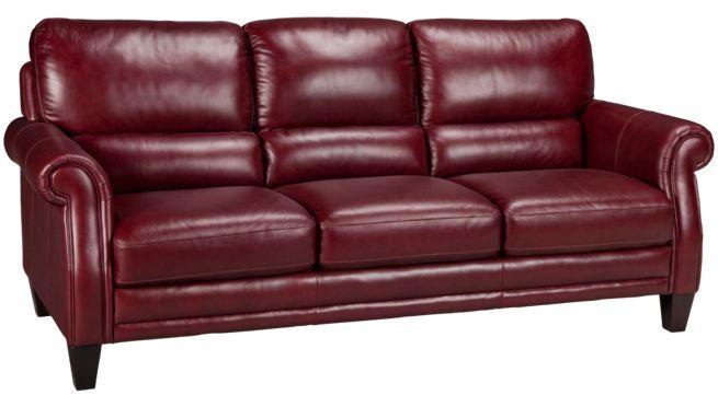 Futura Burgundy Leather Sofa Jordan S Furniture