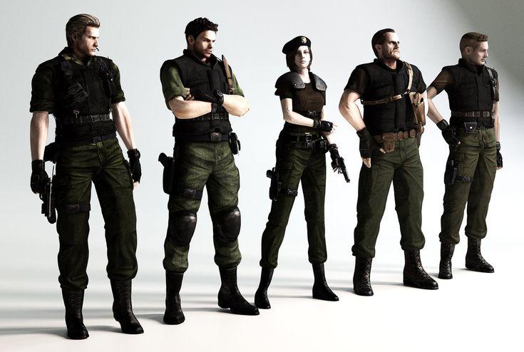 (From left to right) Albert Wesker, Chris Redfield, Jill Valentine, Barry Burton and Richard Aiken.