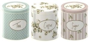 Tea Coffee Sugar Sets:Katie Alice - Set of Three Cottage Flower Large Coffee, Sugar & Tea Storage Tins