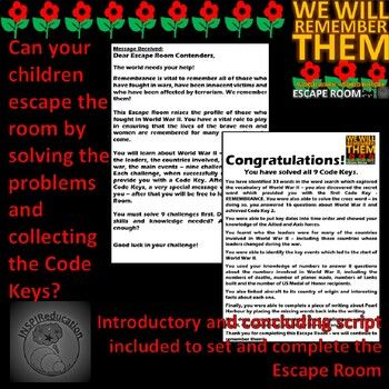 World War 2: ESCAPE ROOM - 9 Challenges, Answer Key ...