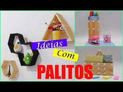 Ideias com Palitos de Picolé - DIY - por Steffane Gomes - YouTube