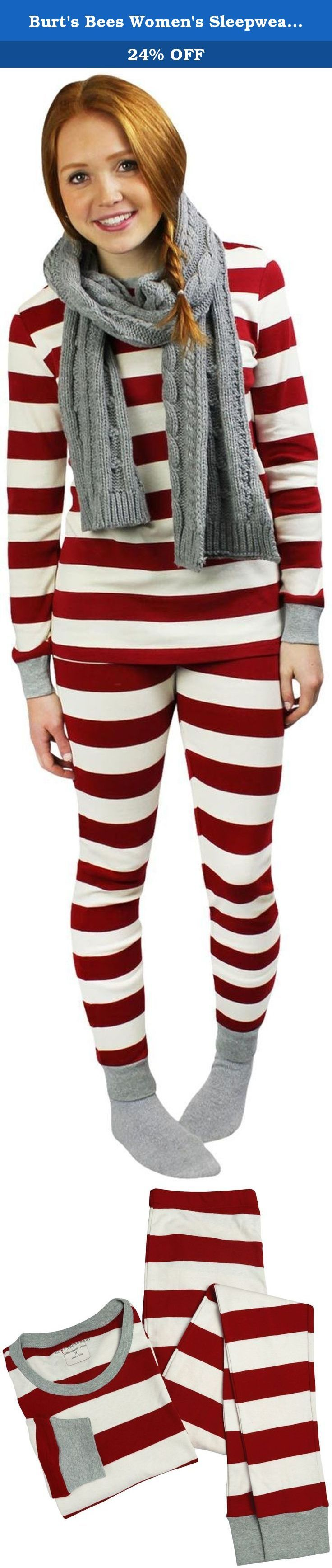 Burt's Bees Women's Sleepwear Women's Adult Cotton Pajama Set, Cranberry Rugby Stripe, X-Small. Our rugby stripe long sleeve tee and pant set is too sweet pass up, it has scallop detailing, ribbed cuffs and an ombre Bee patch on the back making this 100 percent organic cotton set as cute as it is comfy.